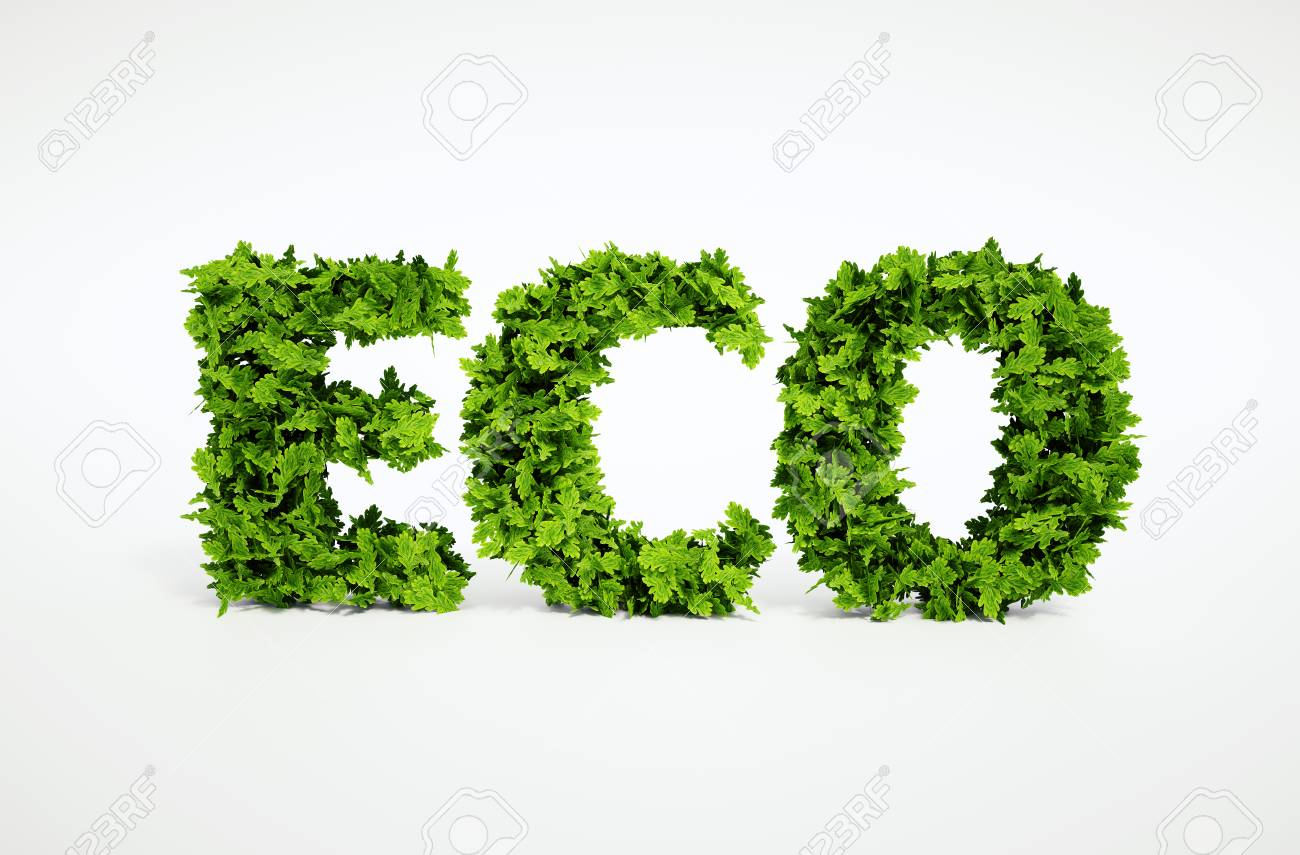 3d rendered ecological image of text, which is composed of many leaves - 30700813