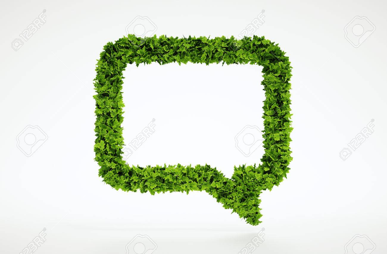 Isolated 3d render natural leaf talk symbol with white background - 30700832