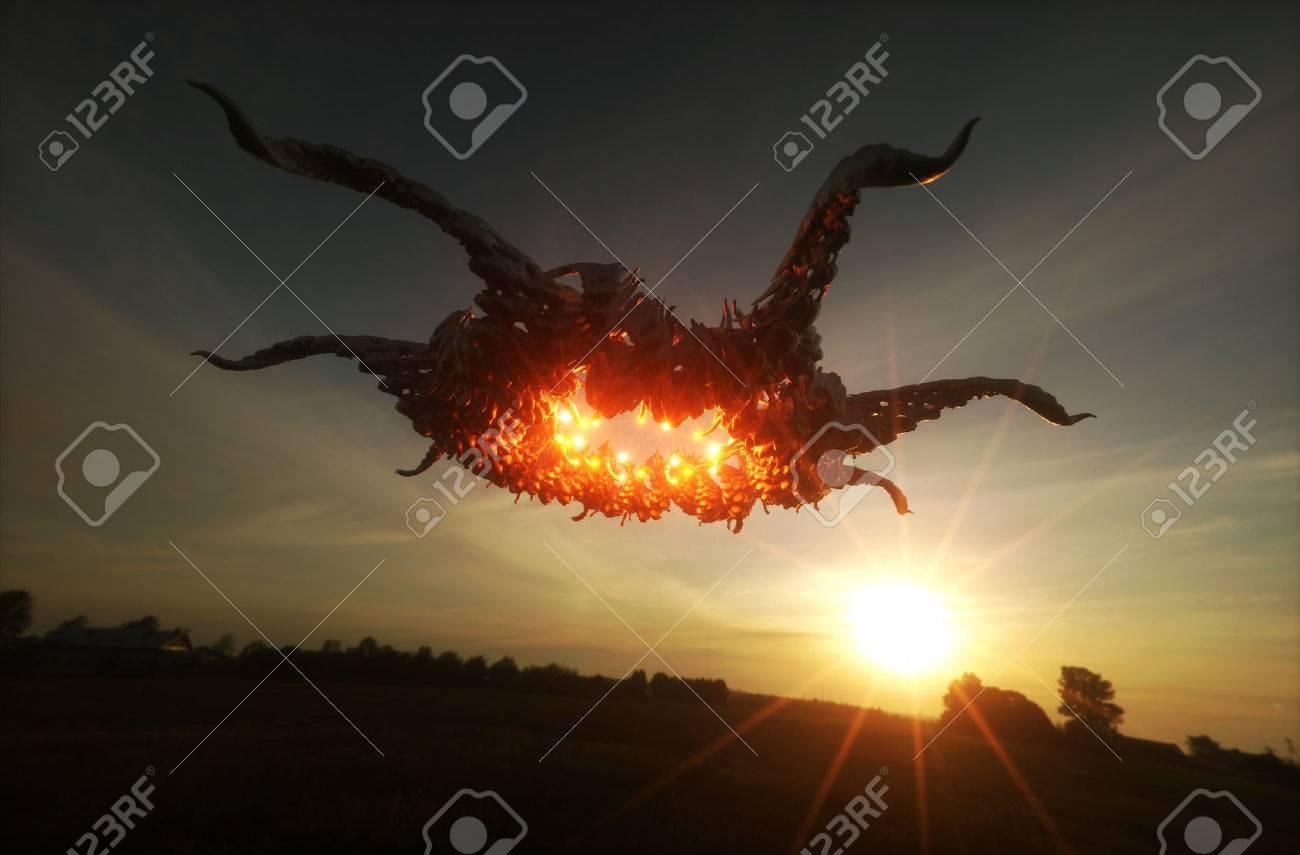3d render image of ufo hovering over field - 31012213