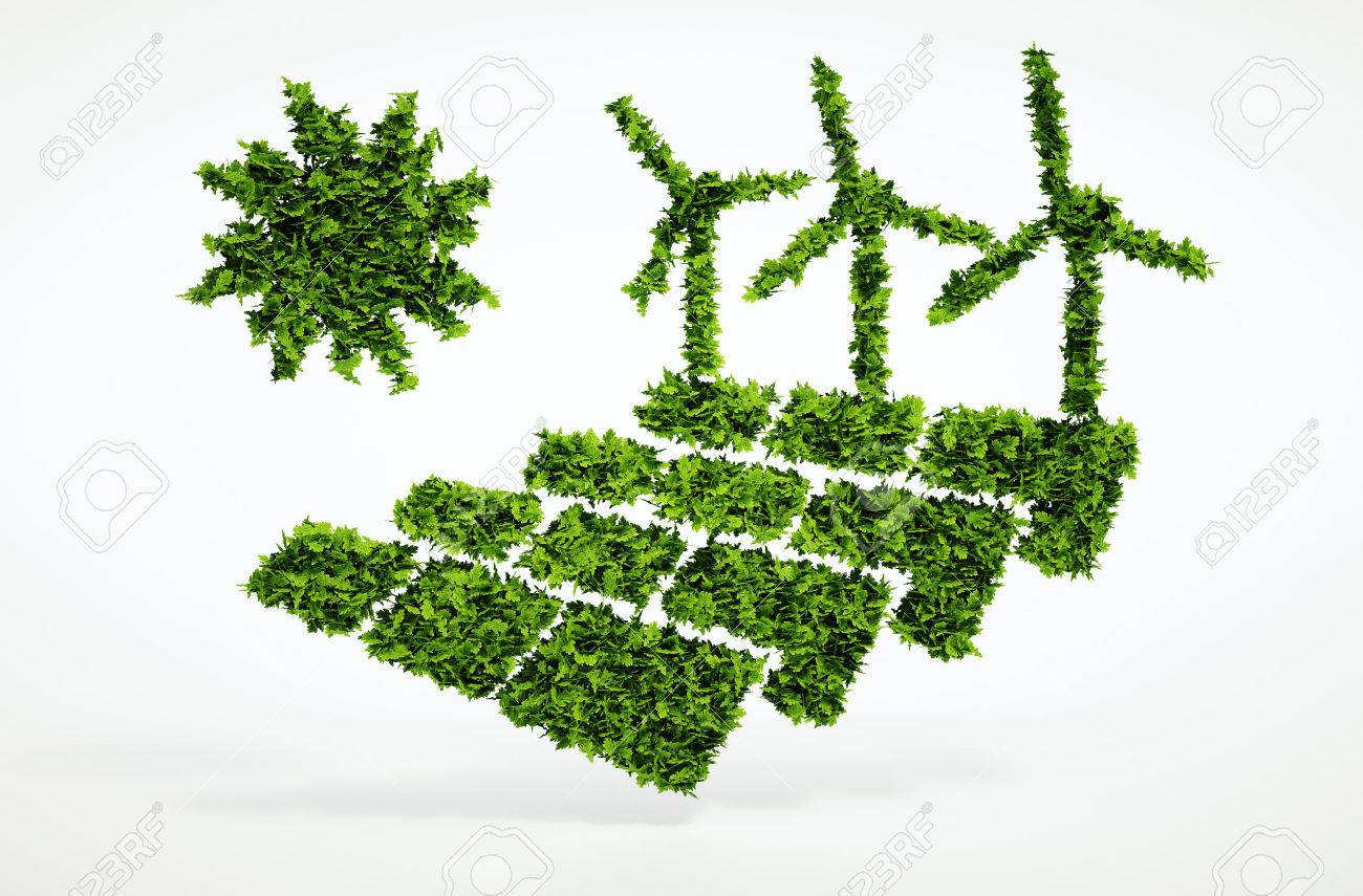 Isolated 3d render ecology sustainable energy concept with white background - 32343338