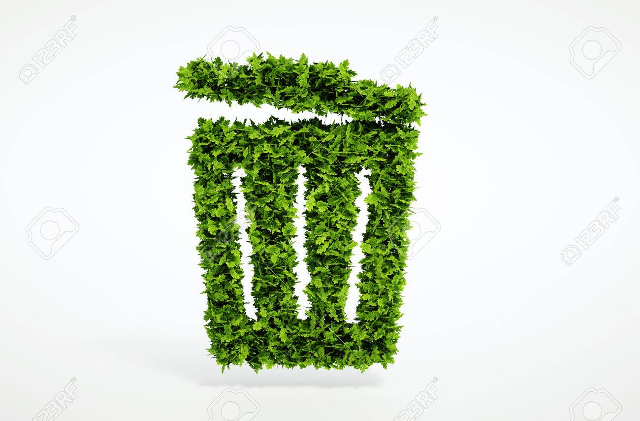 Isolated 3d render ecology trash can concept with white background - 32522009