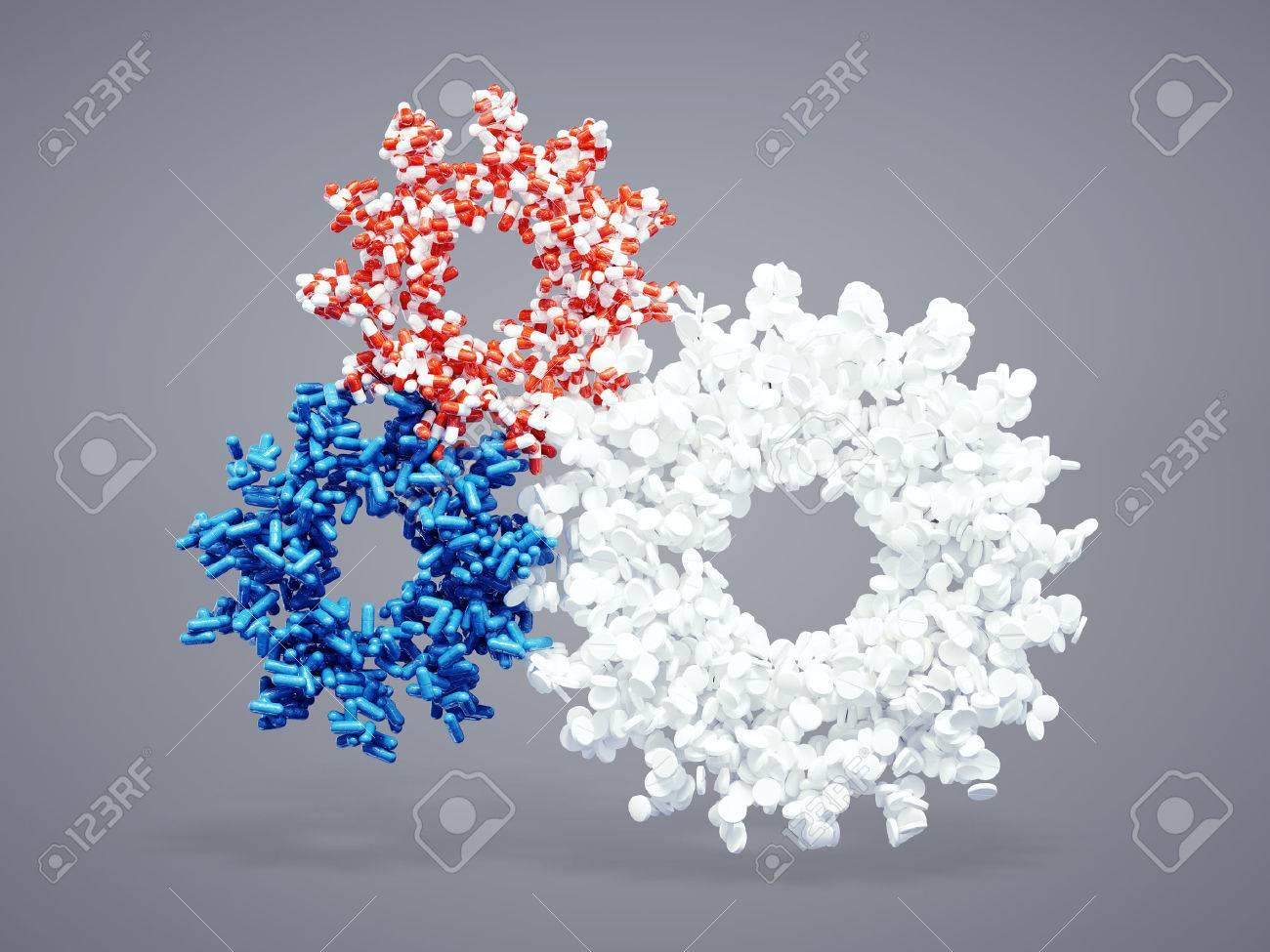 3d pharmaceutical cogwheel icon - 36867702