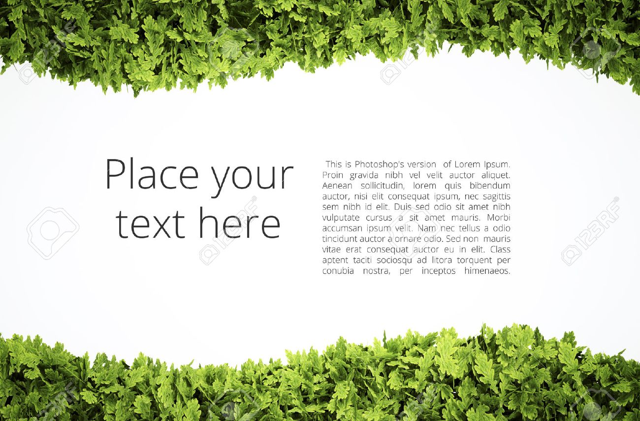 Eco text frame with simple text pattern - clipping path of green leaf shape included - 40615278