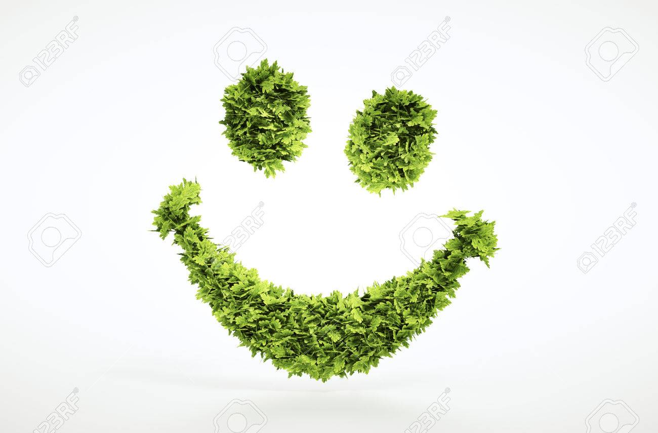 Ecology 3d render smile face sign with included clipping path in jpg file - 40615298