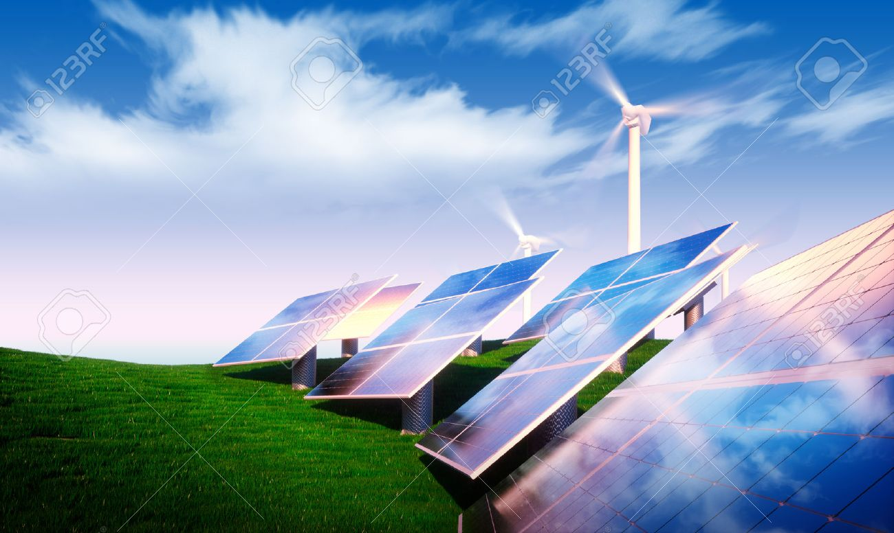 Renewable energy concept - photovoltaic with wind turbines in fresh nature - 48980851