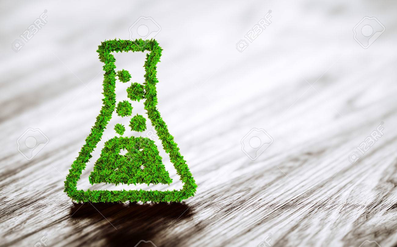 Green chemistry industry sign on black wooden background. 3D rendering. - 62349138