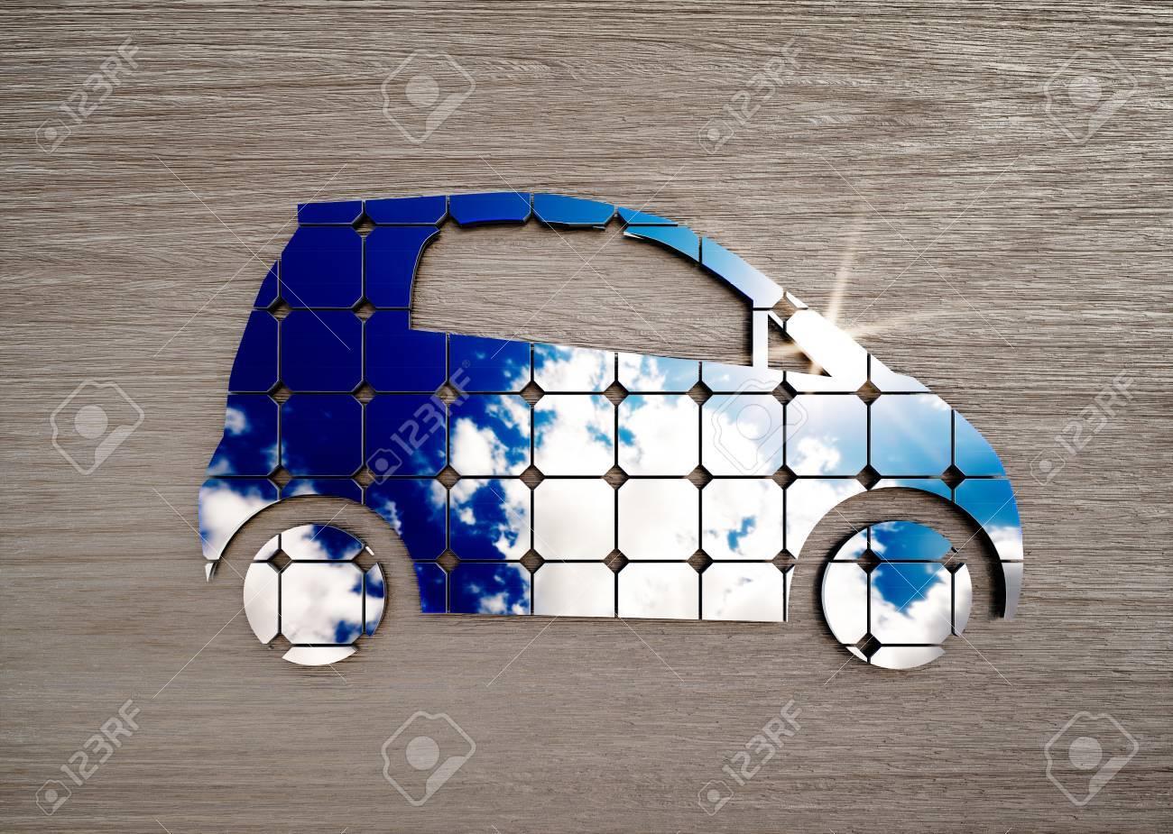Concept de transport écologique sur un bureau en bois foncé