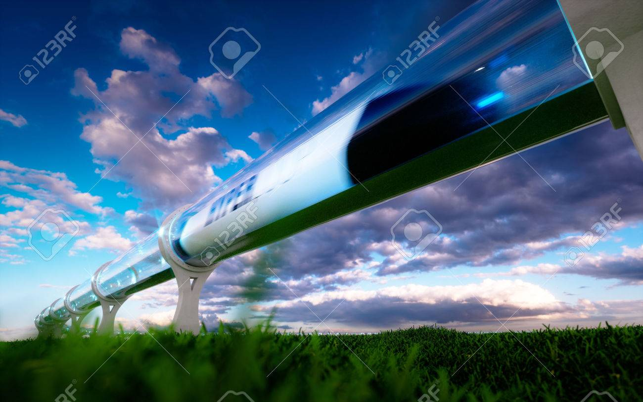 Concept of high-speed traveling in a tube. 3d rendering. - 84873198