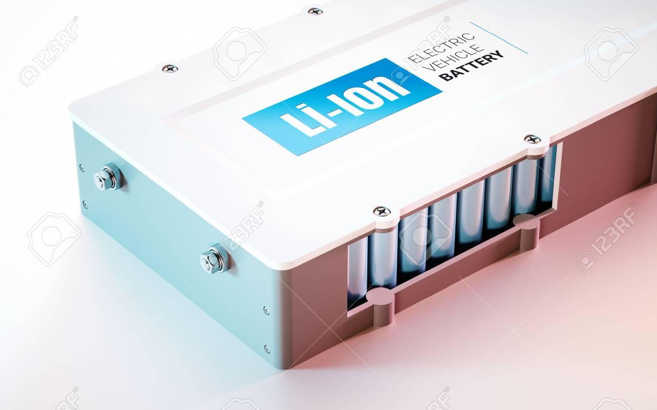 EV (electric vehicle) Li-Ion battery concept. Close up view. 3d rendering. - 89035523
