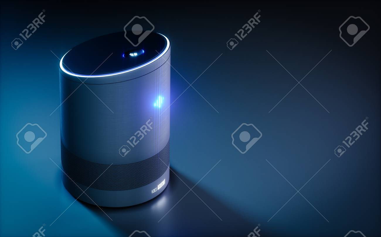 Home intelligent voice activated assistant. 3D rendering concept of hi tech futuristic artificial intelligence speech recognition technology. - 89505357