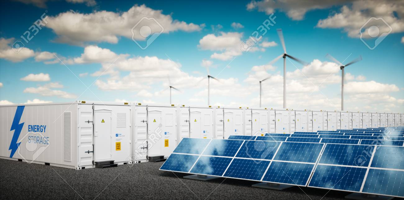 Concept of energy storage system. Renewable energy power plants - photovoltaics, wind turbine farm and battery container. 3d rendering. - 90825579