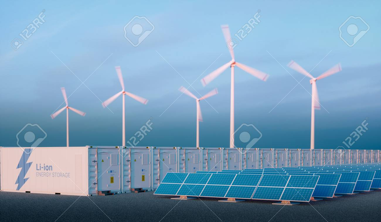 Battery energy storage concept in nice morning light. Hydrogen energy storage with renewable energy sources - photovoltaic and wind turbine power plant farm. 3d rendering. - 90875836