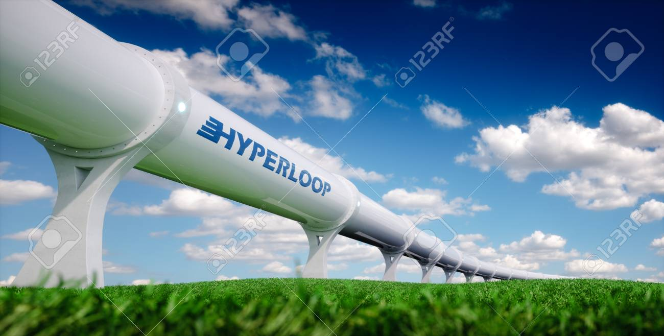 hyperloop transportation concept futuristic transportation technology in fresh spring nature 3d rendering stock