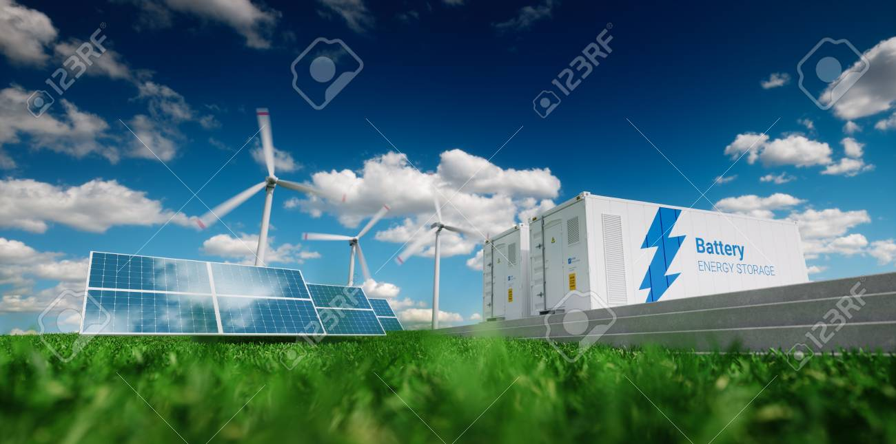Concept of energy storage system. Renewable energy - photovoltaics, wind turbines and Li-ion battery container in fresh nature. 3d rendering. - 100354678