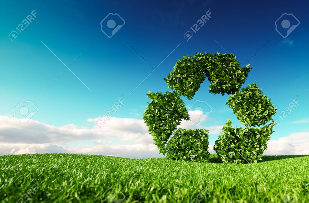 Eco friendly recyclation concept. 3d rendering of green recycle icon on fresh spring meadow with blue sky in background. - 101545131