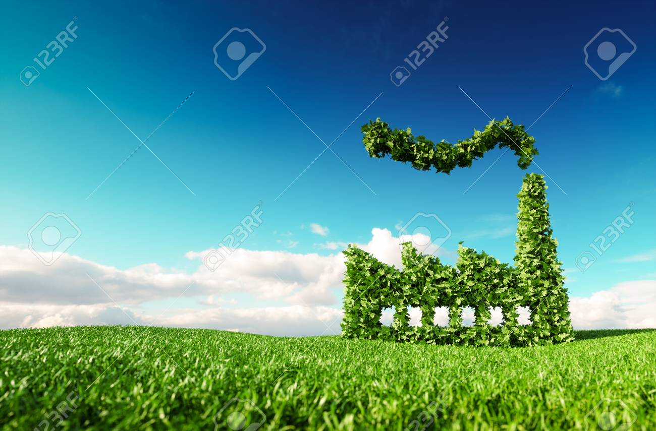 Eco friendly industry concept. 3d rendering of green factory icon on fresh spring meadow with blue sky in background. - 101939238