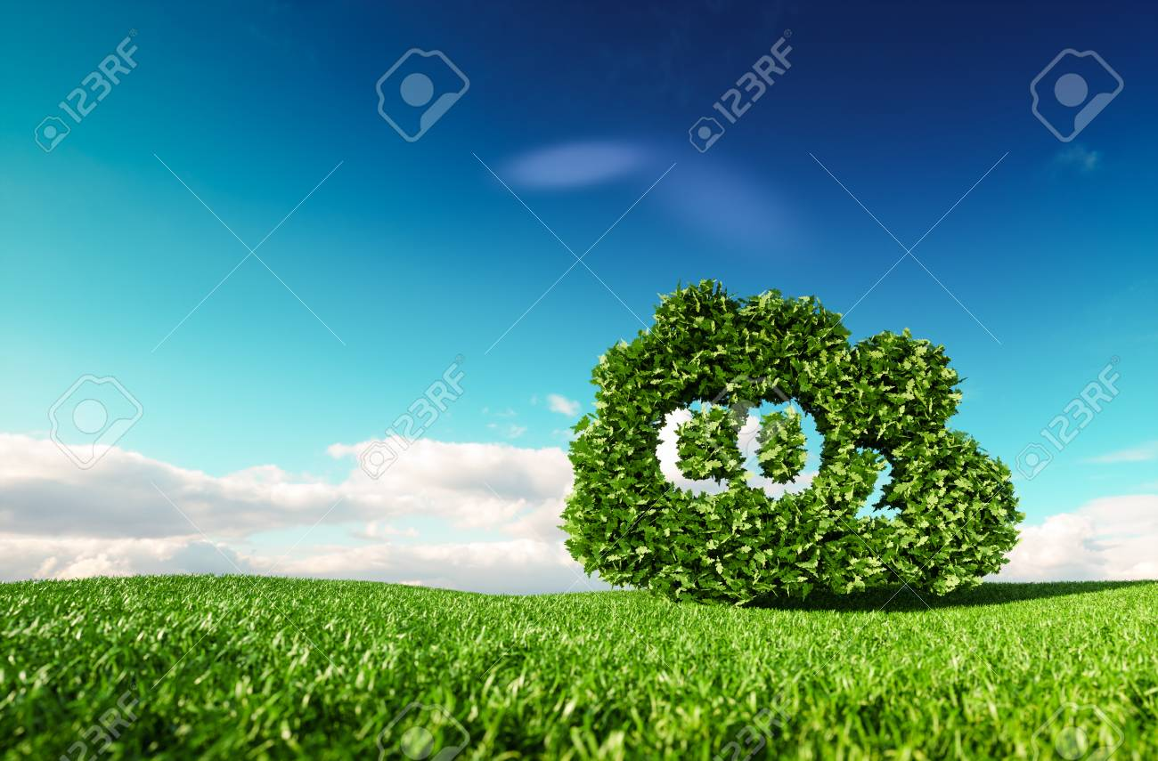 Carbon dioxide emissions control concept. 3d rendering of co2 cloud on fresh spring meadow with blue sky in background. - 102137365