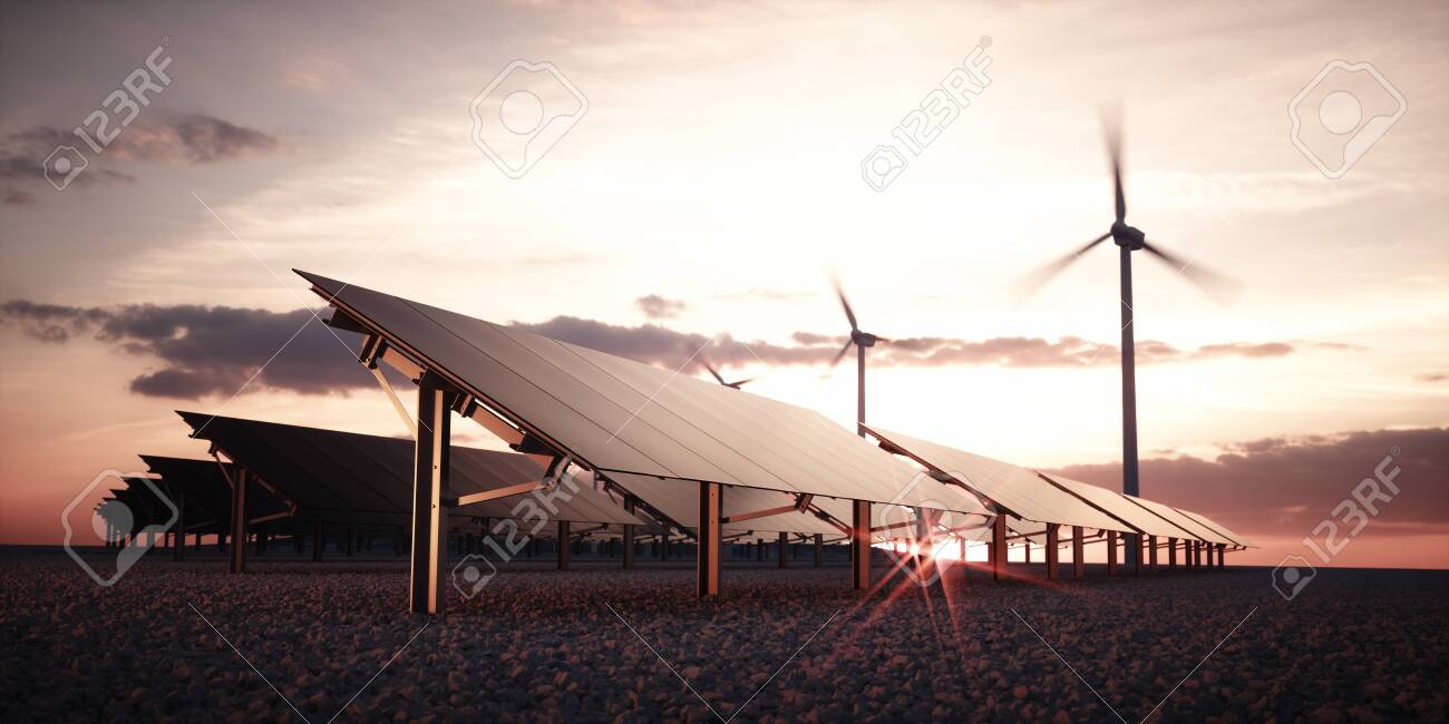 Modern and futuristic aesthetic black solar panels of large photovoltaic power station with wind turbines in background in warm sunset light. 3d rendering. - 120037972
