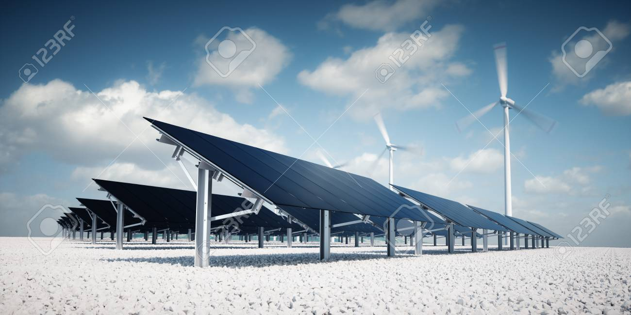 Modern and futuristic aesthetic black solar panels of large photovoltaic power station with wind turbines in background in nice sunny afternoon weather with partial cloudy blue sky. 3d rendering. - 120037969