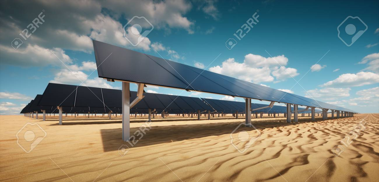 Modern black solar panel of a photovoltaic power plant in a desert environment in sunny weather. 3d rendering. - 120037971