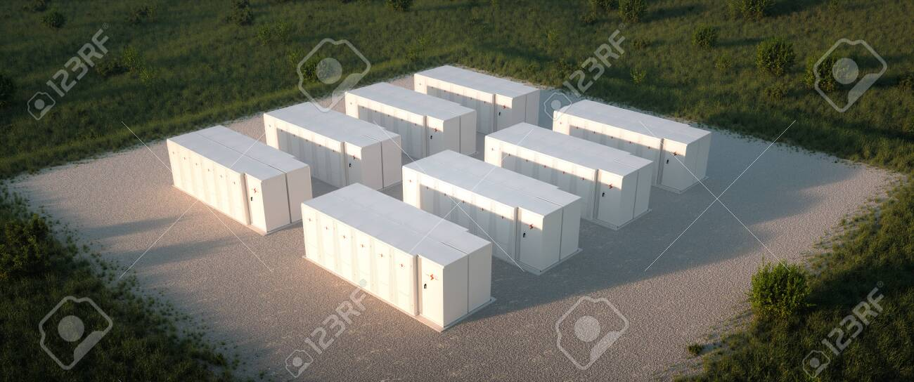 Concept of renewable energy battery storage system in nature. Drone isometric view. 3d rendering - 130999190