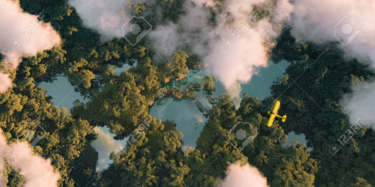 Sustainable habitat world concept. Distant aerial view of a dense rainforest vegetation with lakes in a shape of world continents, clouds and one small yellow airplane. 3d rendering. - 132355515