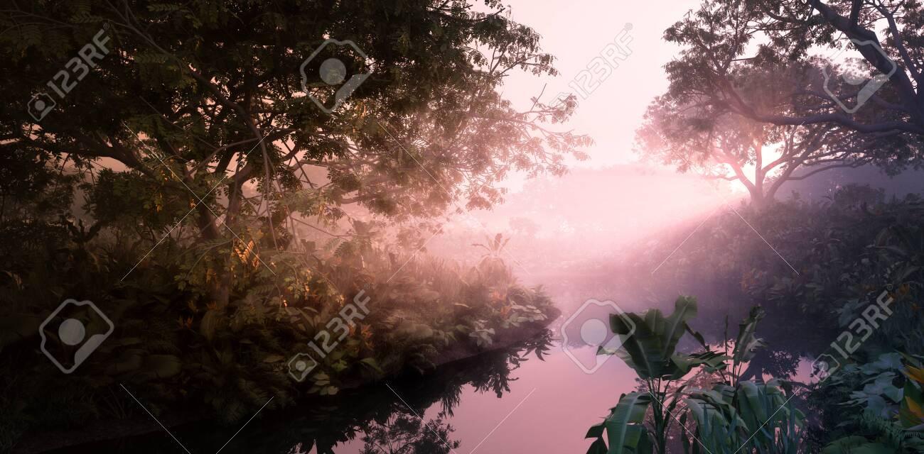 Fantasy evening sunset in jungle paradise. Dense rainforest vegetation, calm pond in misty volumetric light. 3d rendering. - 132355514