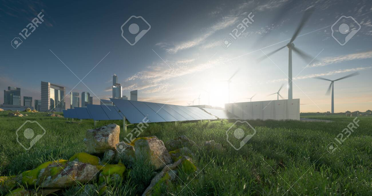 Future renewable energy solution for sustainable cities. Modern black frameless solar panels, battery energy storage facility, wind turbines and big city with skycrapers in background. 3d rendering. - 135060332