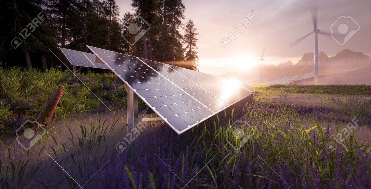Environmentally friendly installation of photovoltaic power plant and wind turbine farm situated in beautiful fresh mountain scenery with nice warm morning light. 3d rendering. - 135409612