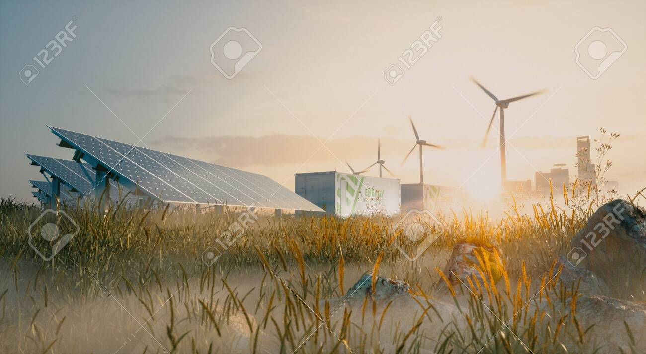 Concept of renewable energy solution in beautiful morning light. Installation of solar power plant, container battery energy storage systems, wind turbine farm and city in background. 3d rendering. - 135409684