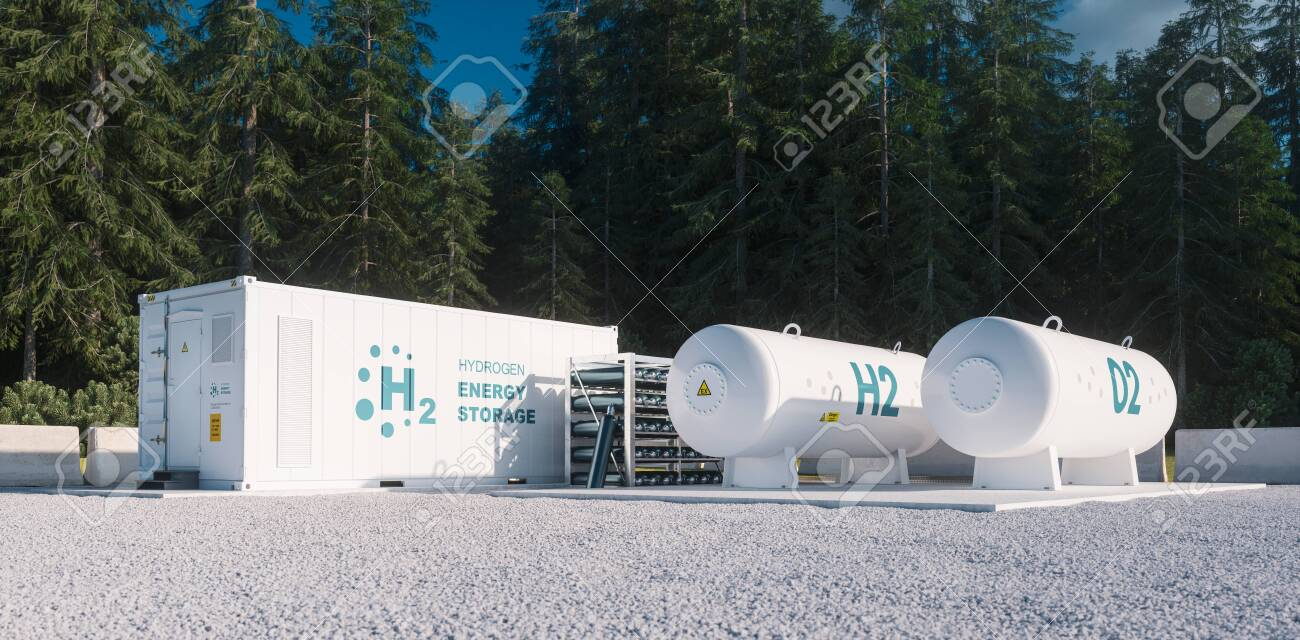 Environmentally friendly solution of renewable energy storage - hydrogen gas to clean electricity facility situated in forest environment. 3d rendering. - 135409587