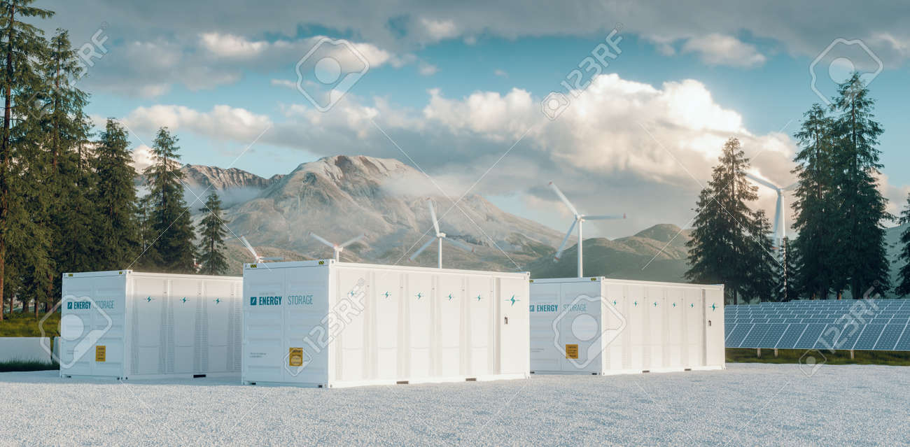 Modern container battery energy storage power plant system accompanied with solar panels and wind turbine system situated in nature with Mount St. Helens in background. 3d rendering. - 164411416
