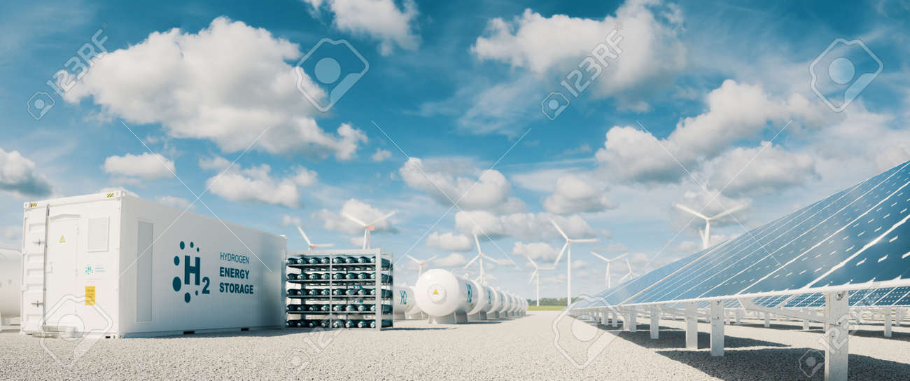 Modern hydrogen energy storage system accompaind by large solar power plant and wind turbine park in sunny summer afteroon light with blue sky and scattered clouds. 3d rendering. - 168493052