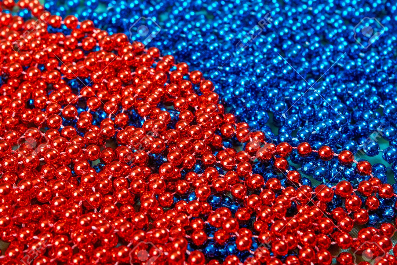 Mardi Gras beads background abstract red and blue Stock Photo - 23987954