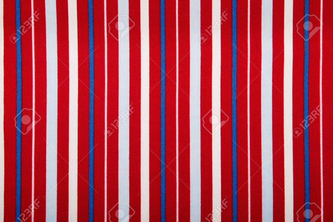 Striped Fabric Texture Red Blue White For A Background Stock Photo