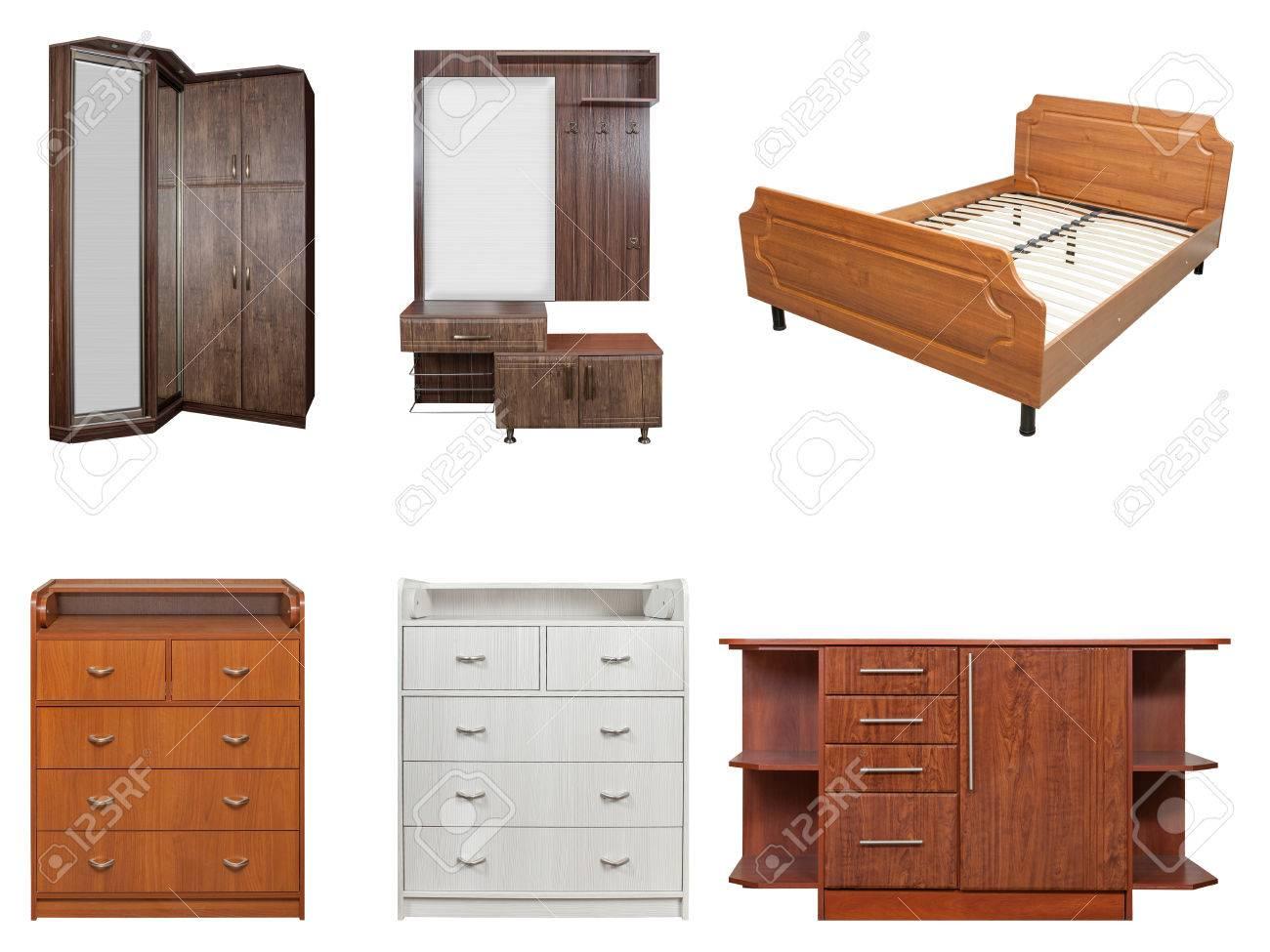 Collage Verschiedener Möbelholz Bett Kommode Schrank Isoliert Auf