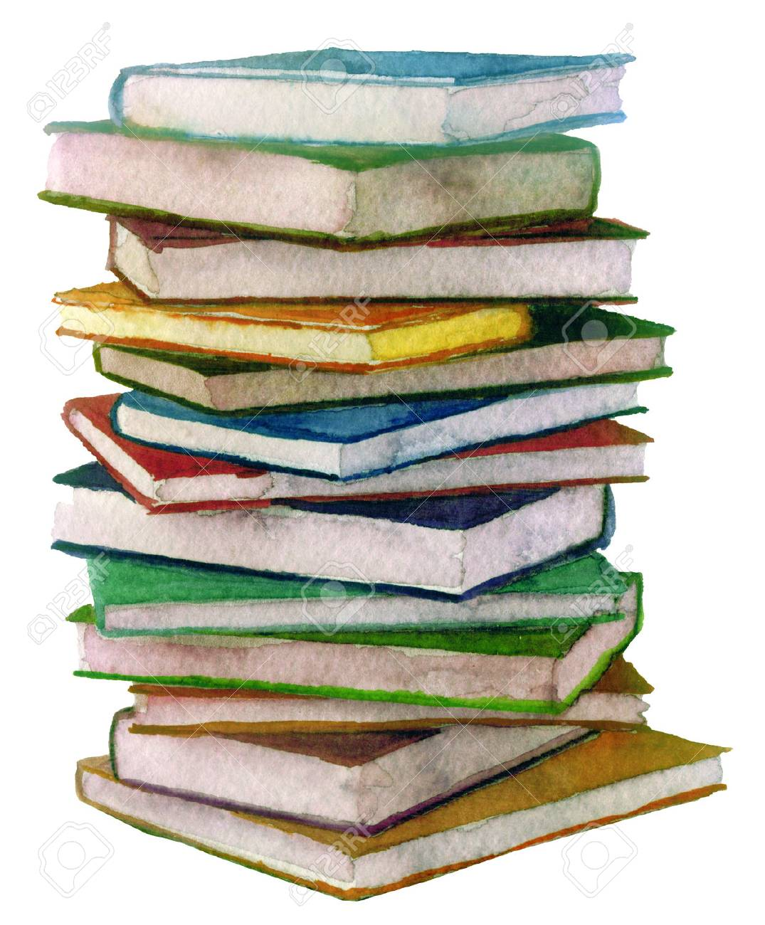 Watercolor Stack Of Books Stock Photo, Picture And Royalty Free ...