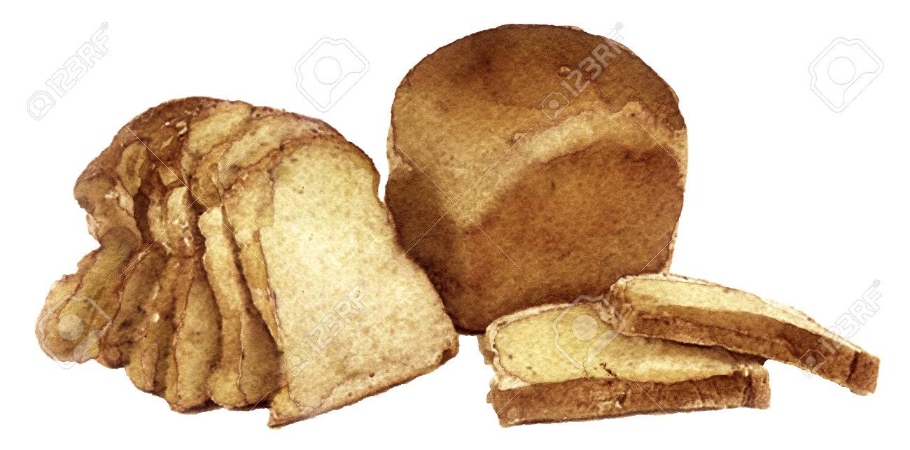 Watercolor Sketch Of Bread On A White Background Stock Photo Picture And Royalty Free Image Image 65497473