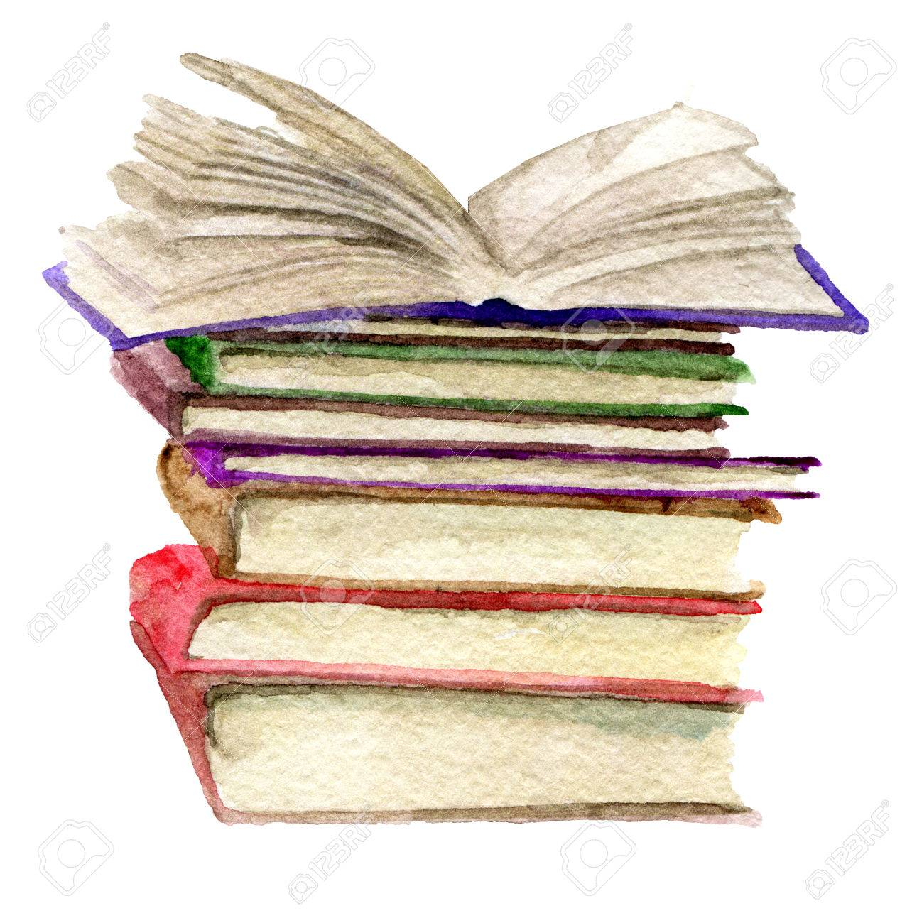 Watercolor Sketch Of Stack Of Books Isolated On White Background ...