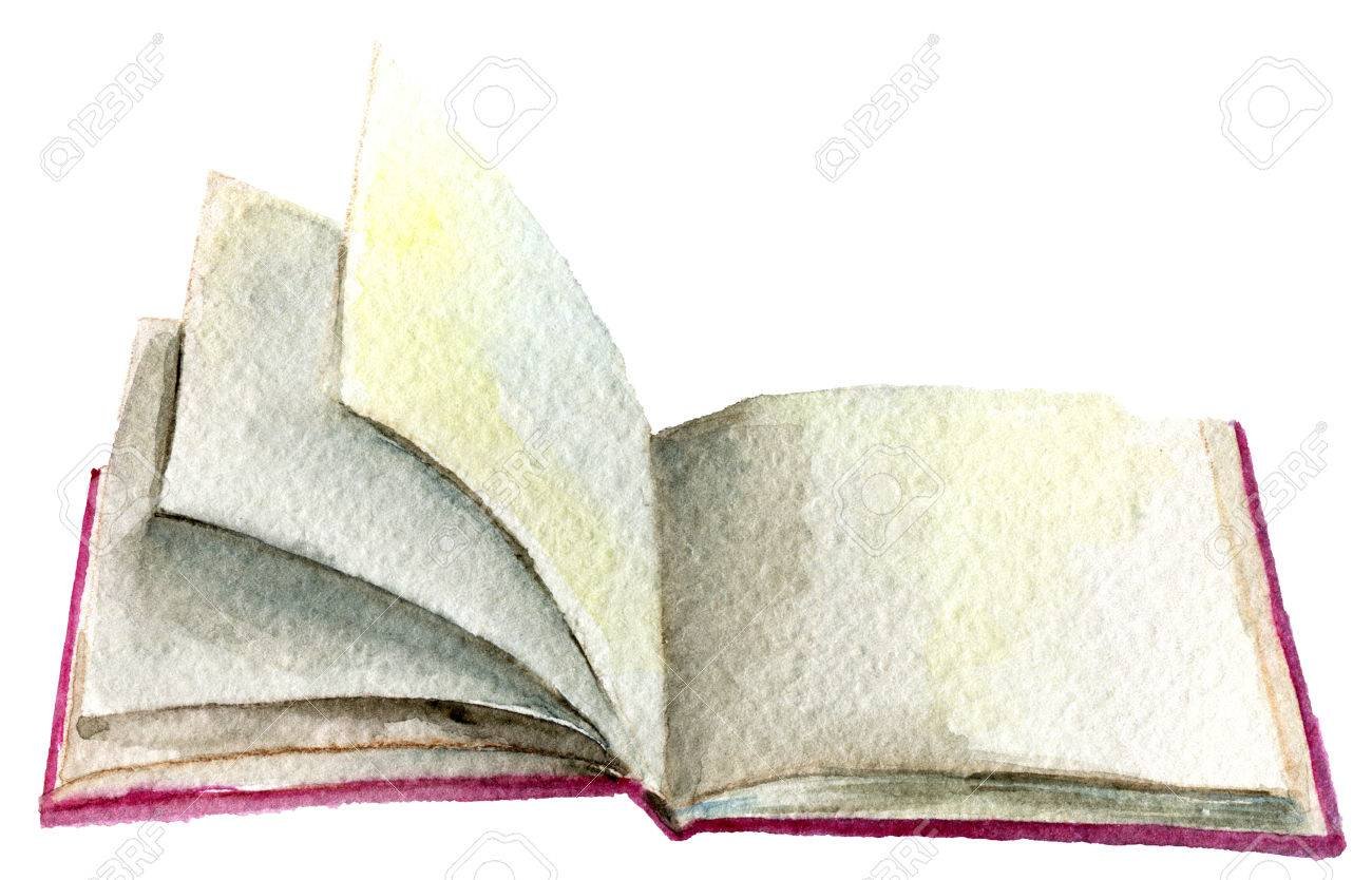 Watercolor Sketch Of Open Book Isolated On White Background Stock ...