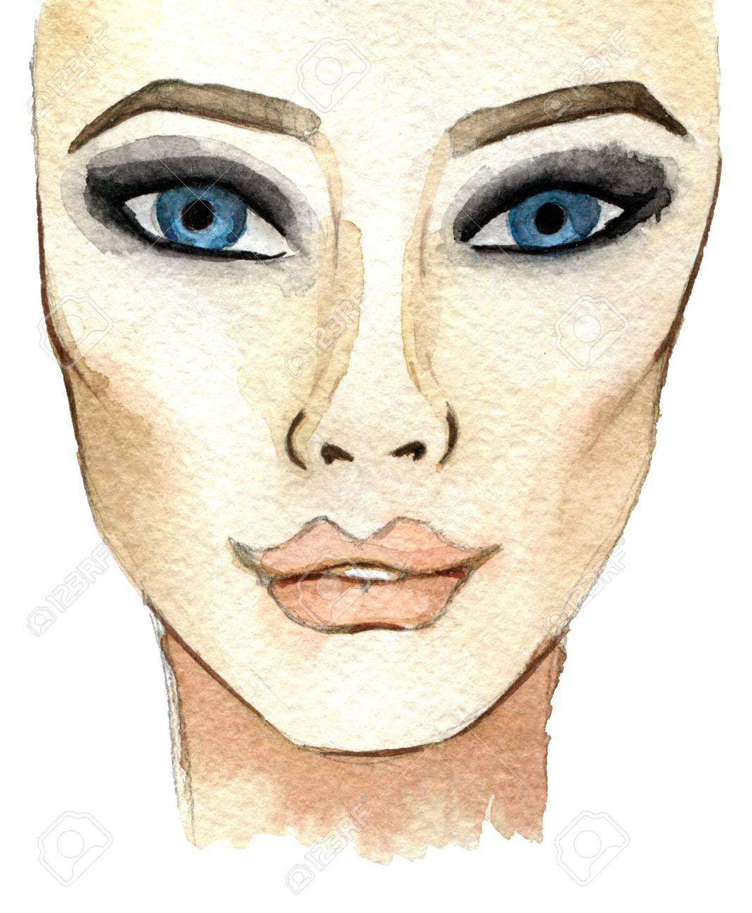 Watercolor Sketch Of Woman Face Fashion Illustration Isolated Stock Photo Picture And Royalty Free Image Image 79401195
