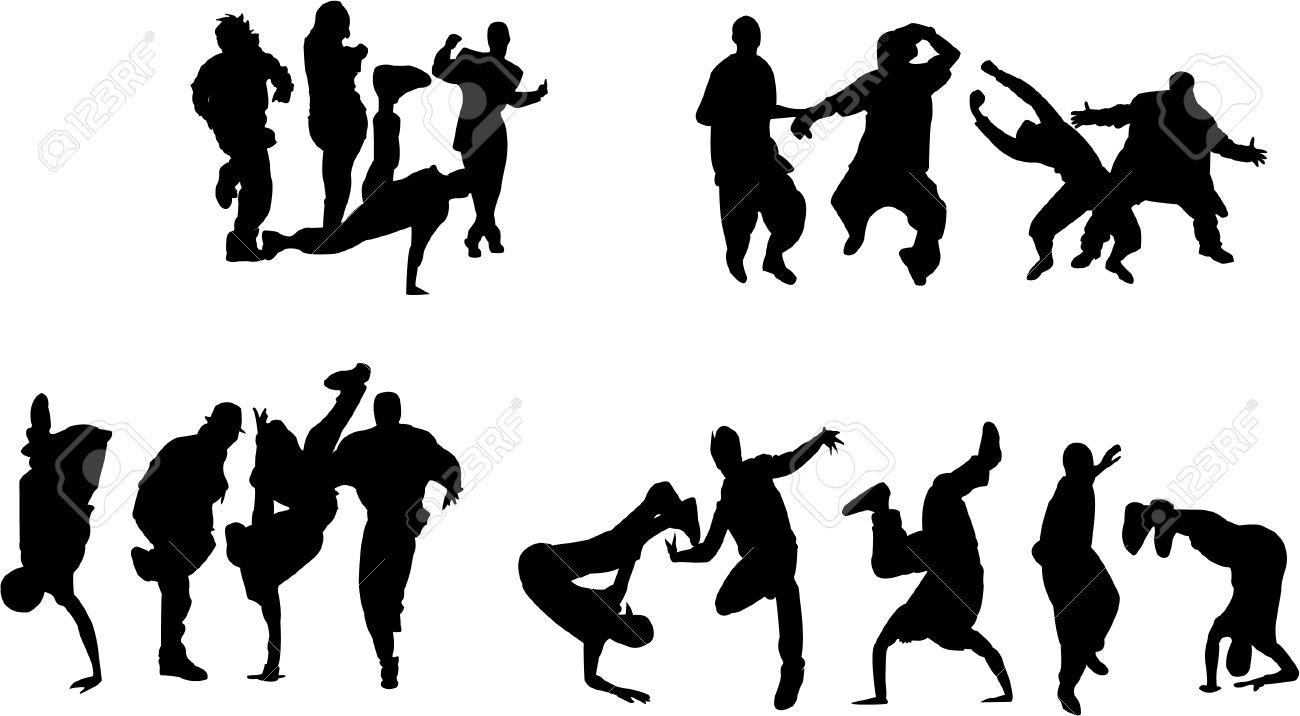 Silhouette of boys and girls dancing on different hip hop style: Krump, Break dance, Old school etc. Stock Vector - 5050310
