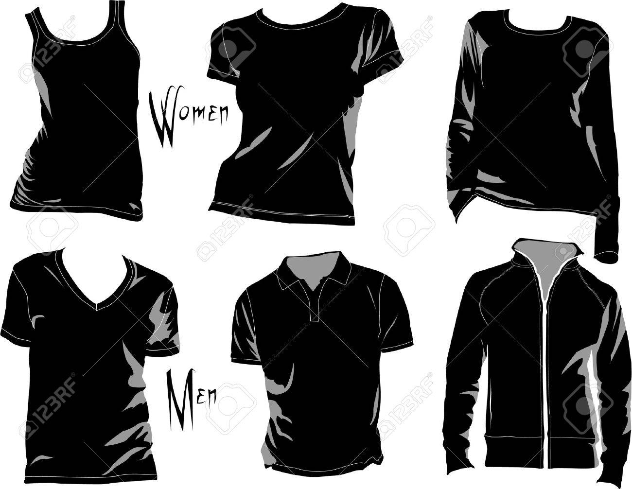 Black t shirt vector - T Shirt Template Mockup For Designs In Vector Format Colors Can Be Easily