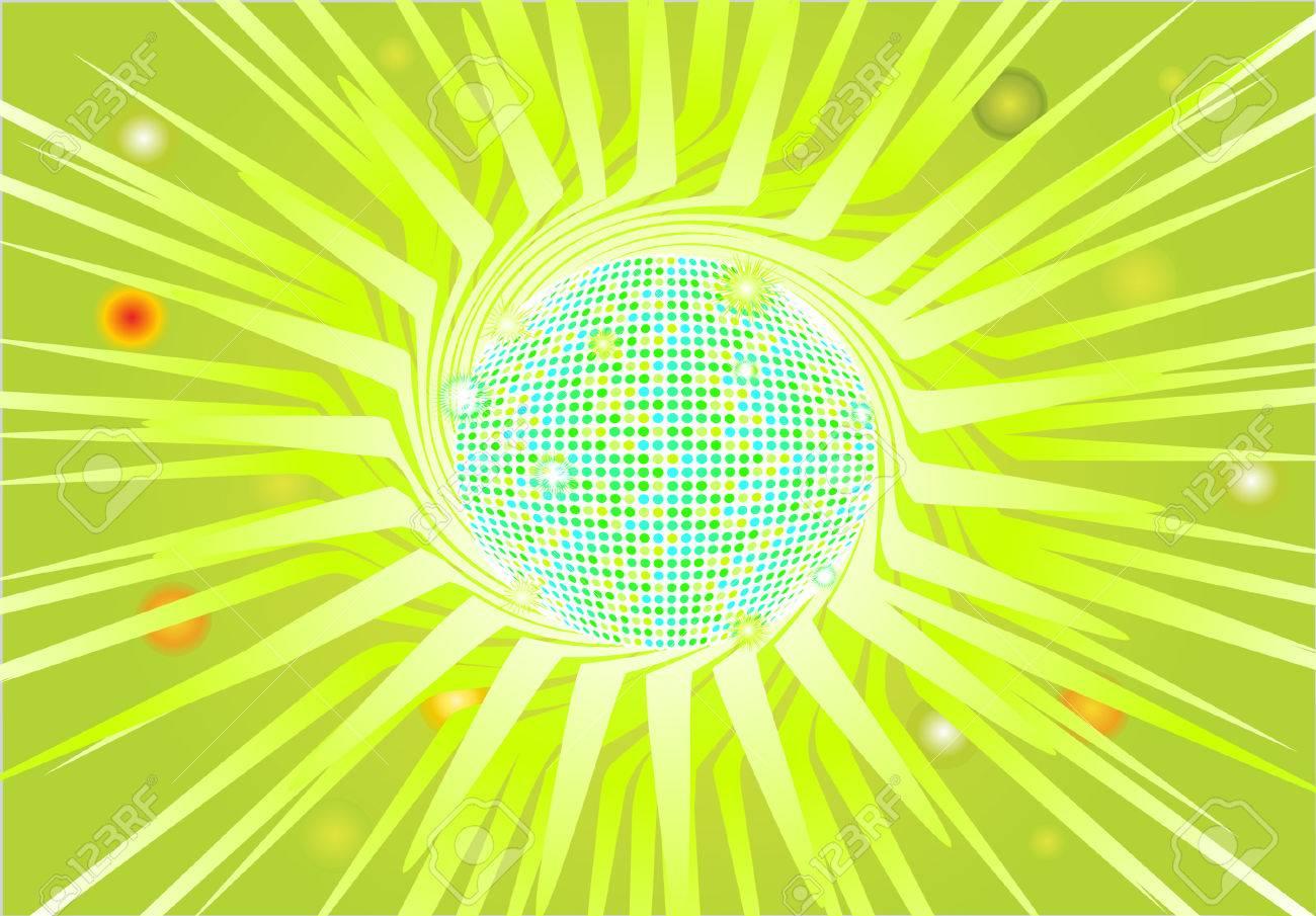 Llamativos En Una Discoteca Bola Verde Tema. Vector Eps8 Archivo ...
