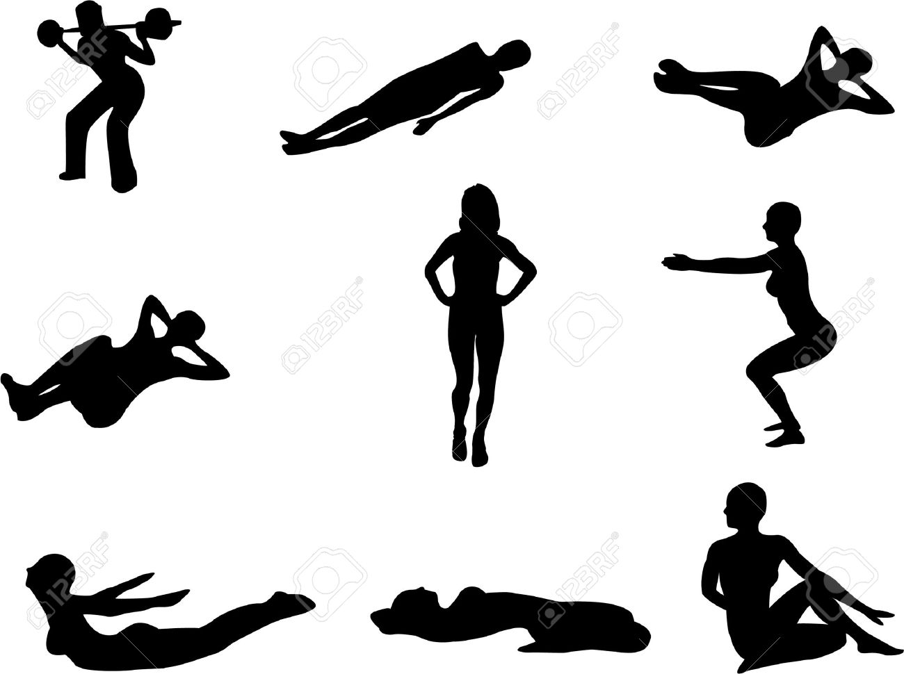 Set of 9 silhouettes of people doing gym exercises, stretching etc. Stock Vector - 5230977