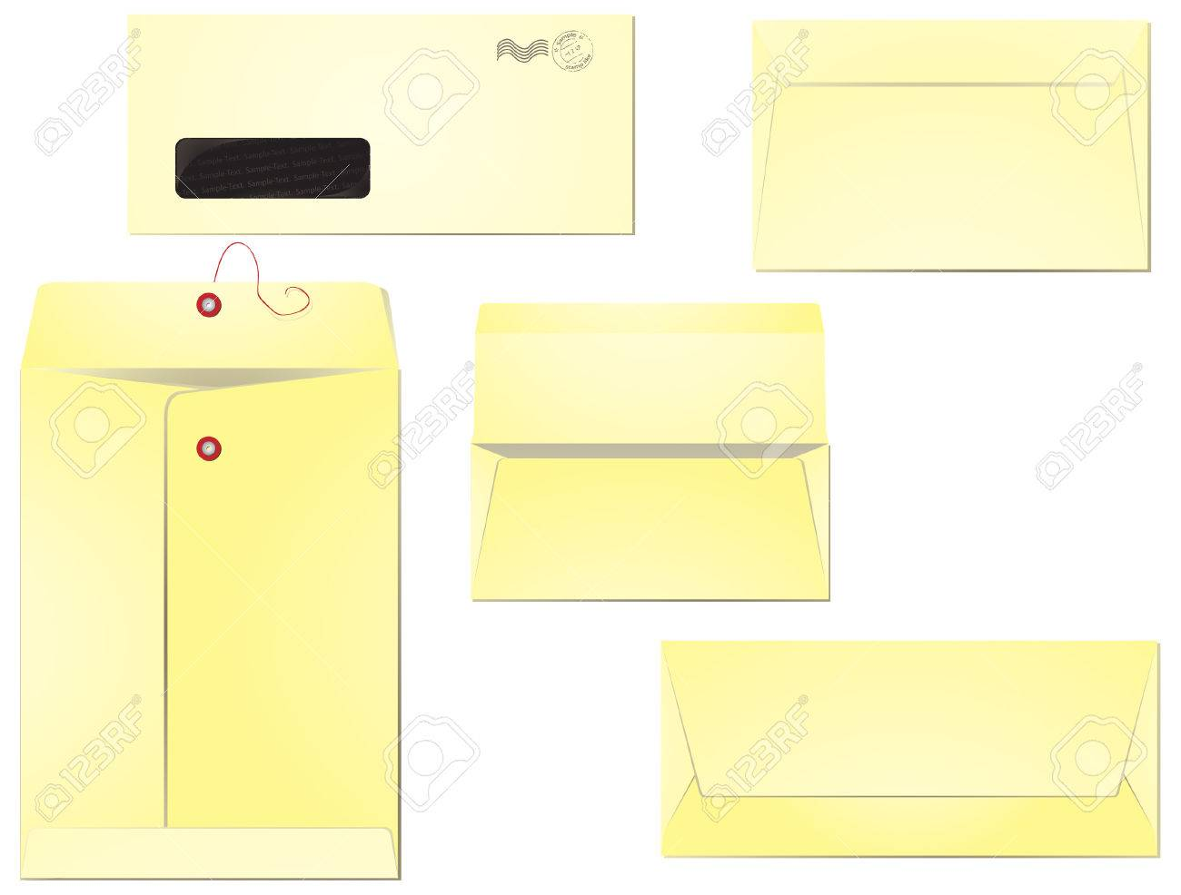 Five different types of envelopes for business correspondence and mailing. Layers clearly organised so the editing is simplified. 8, radial gradients used. Stock Vector - 5277366