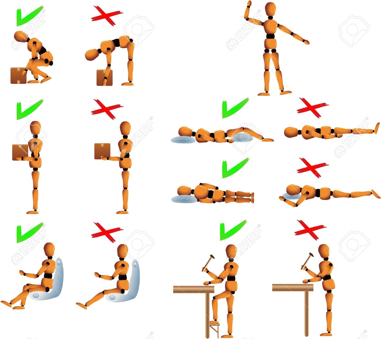 Several position with do's and don't for the back and spine care. Woody the mannequin explains it using examples. It explains how to carry objects, drive, work and sleep in order to avoid back problems. Linear and radial gradients used. Woody's arms, legs Stock Vector - 5277363