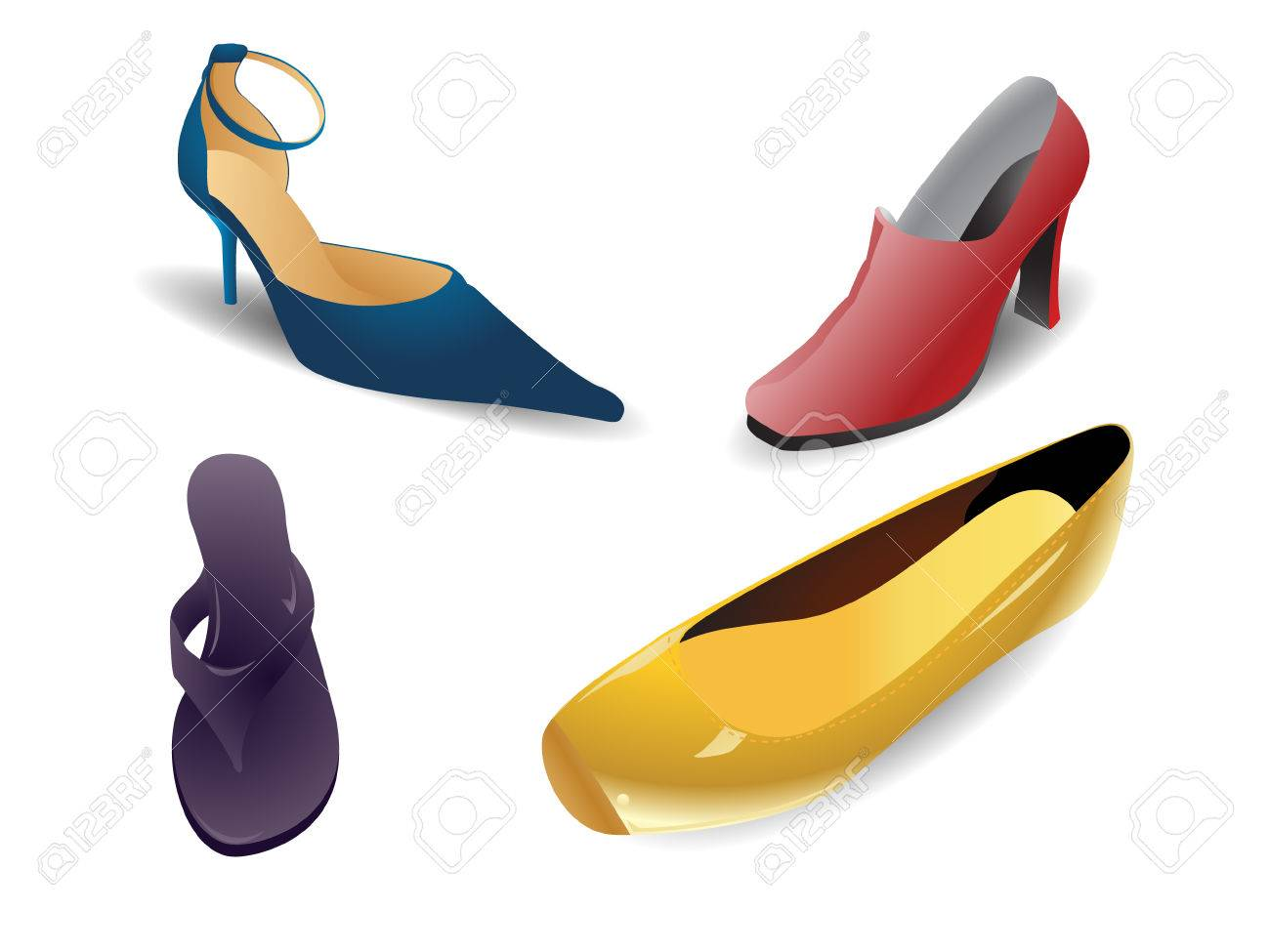 Set of colorful modern women shoes. Linear and radial gradients only. Stock Vector - 5570465