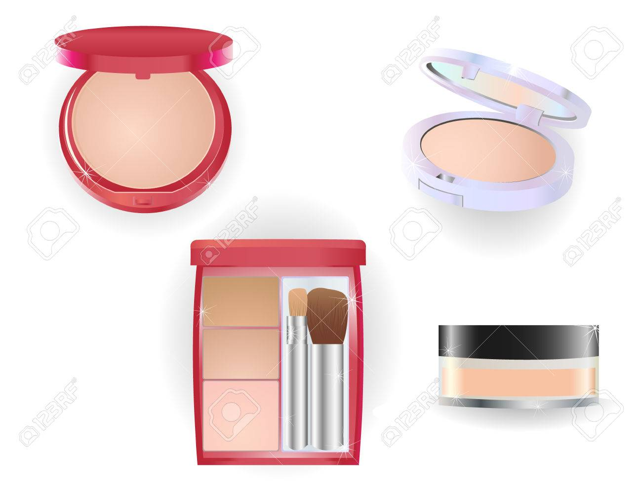 Glitering and shining set of make-up objects. Stock Vector - 5660792