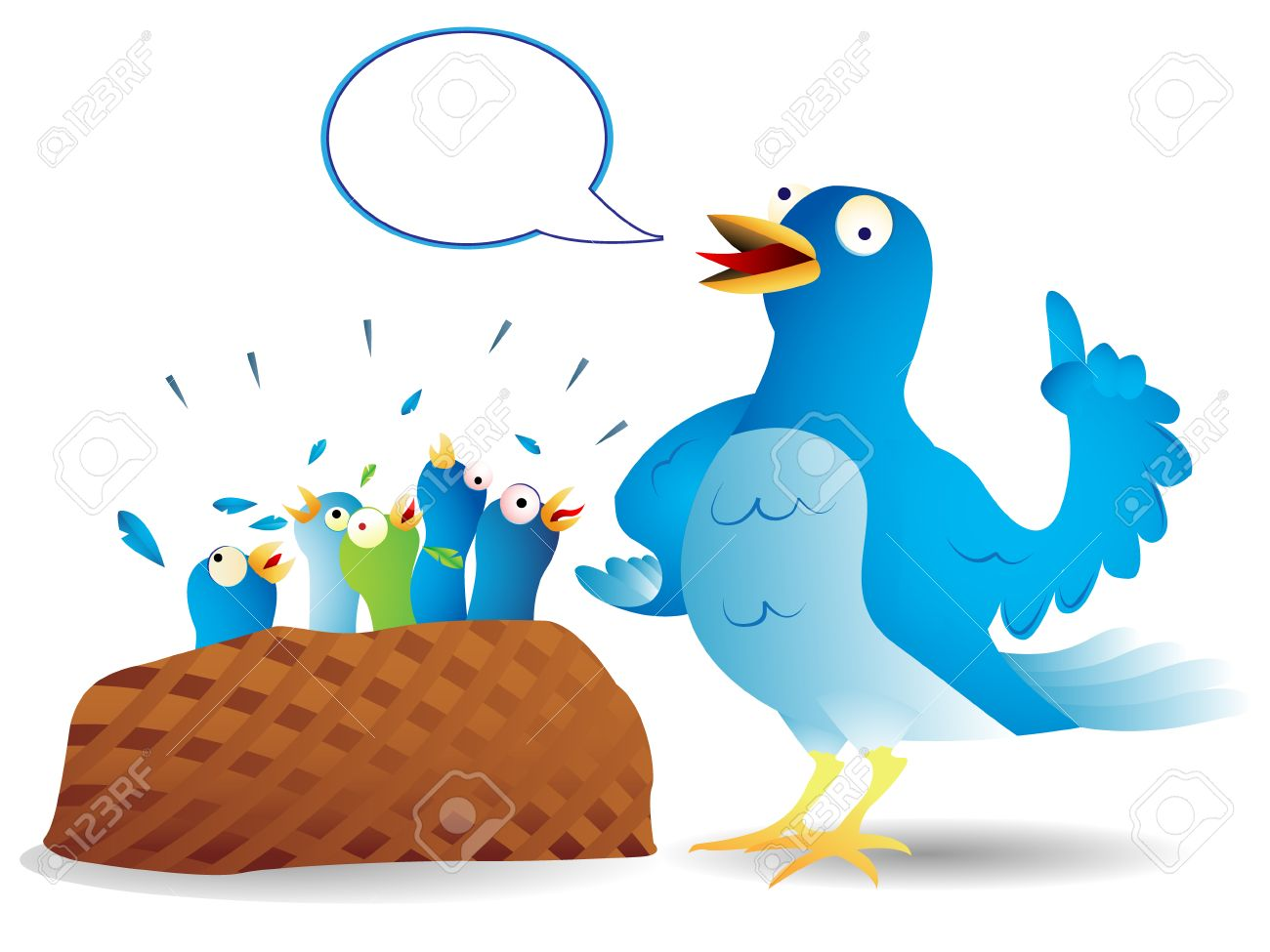 Very talkative twitter bird giving a speech to its hungry kids. Stock Vector - 5737870
